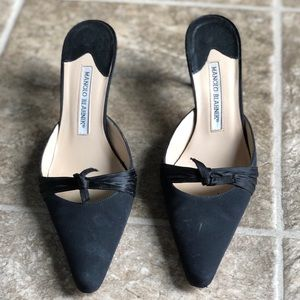 Manolo Blahnik Black Pointed Toe Heel 3in. Sz 7.5
